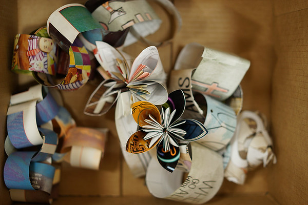 Here are a few of the impressive paper flowers volunteers created to give to long-term care residents.
