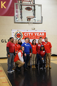 The East Tech High School AmeriCorps team poses with the Bank of America/Merrill Lynch volunteers.