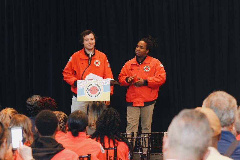 AmeriCorps members and Emcees Ben Roth and Ed McElroy lighten it up with some great puns and introductions of speakers.