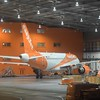 EasyJet Airbus A319 G-EZFY inside the hangar at London Luton Airport.