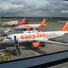 Easyjet Airbus A320 G-EZWX at London Luton, along with two A319s and a WizzAir A321, 13.10.17.
