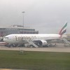 Emirates Airlines Boeing 777-300 A6-EMS at Malta Airport on a Dubai flight.