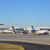 Spirit Airlines Airbus A319 and A320 aircraft at Atlanta airport.