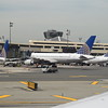 United Airlines planes lined up at Newark, with Boeing 757-200 N505A visible.