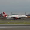 Virgin America Airbus A320 N839VA landing at Newark Liberty Airport.