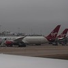 "Virgin Atlantic aircraft at London Heathrow, with Boeing 787 ""Dreamliner"" G-VAHH nearest."