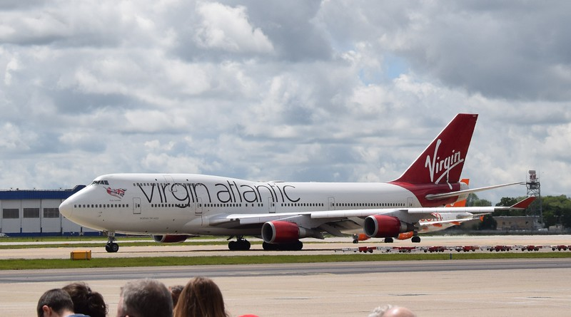 Virgin Atlantic Boeing 747-400 G-VXLG at London Gatwick airport on a flight to Orlando.