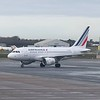Air France Airbus A318 F-GUGL at Birmingham Airport having arrived from Paris.
