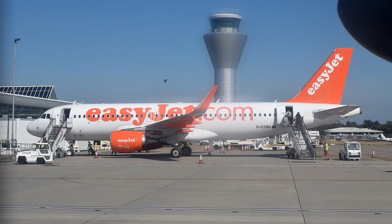 EasyJet Airbus A320 G-EZWN at Jersey Airport.