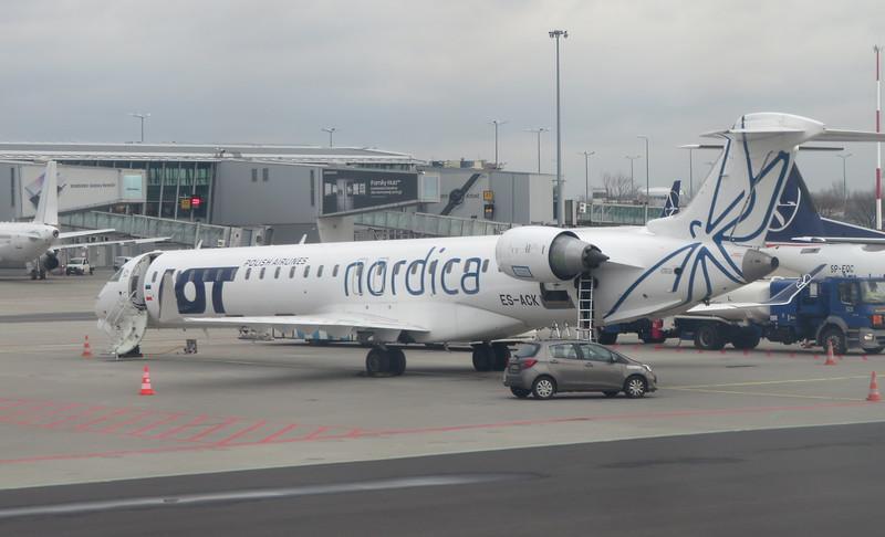 Nordica LOT Polish Airlines Bombardier CRJ-900 ES-ACK at Warsaw Chopin airport, 13.02.2020.