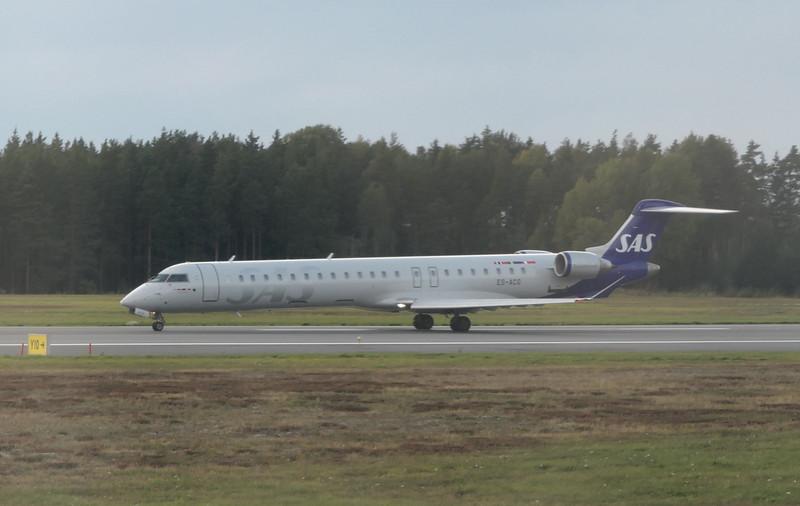 SAS Scandinavian Airlines Bombardier CRJ-900 ES-ACG departing Stockholm Arlanda on an Ronneby flight, 21.09.2020.
