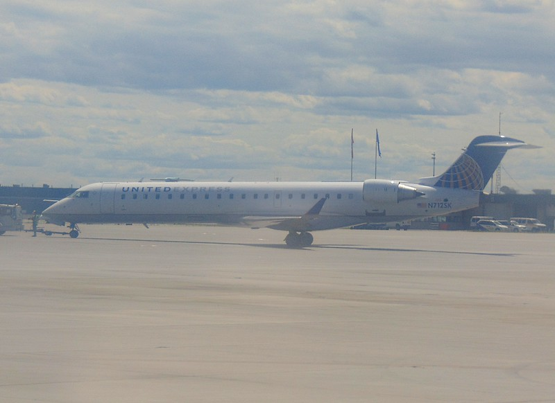 United Express Bombardier CRJ-900 N712SK at Calgary Airport.