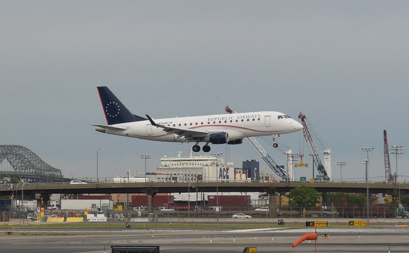 Republic Airways Embraer E170 N809MD arriving at Newark Liberty Airport.