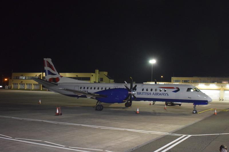 Eastern Airways BA Cityflyer Saab 2000 G-CDKA at Isle of Man Ronaldsway Airport on London City flights, 17.10.17.