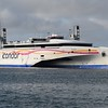 "Condor Ferries Austal catamaran ferry ""Condor Liberation"" departing St. Peter Port, Guernsey for Poole."