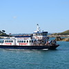 """Travel Trident catamaran ferry """"Herm Trident V"""" arriving at Herm island with a shuttle from Guernsey."""