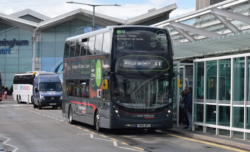 National Express West Midlands ADL Enviro 400 MMC SN66WFU 6849 at Birmingham Airport on the X1 to Birmingham.