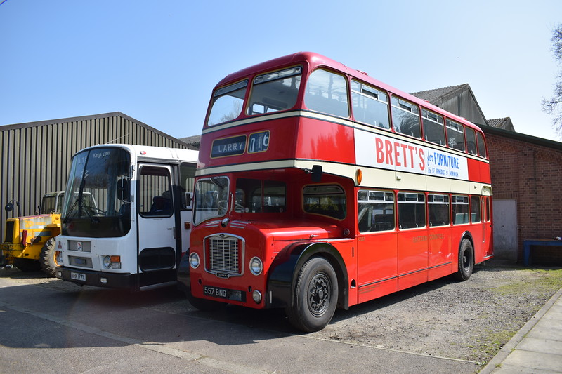 Eastern Counties ECW Bristol Lodekka 557BNG at the East Anglia Transport Museum.