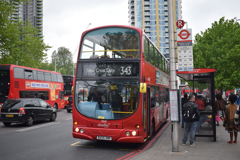 Abellio London Volvo Wright Eclipse Gemini BX55XHR 9041 at Elephant and Castle on the 343 to New Cross Gate.