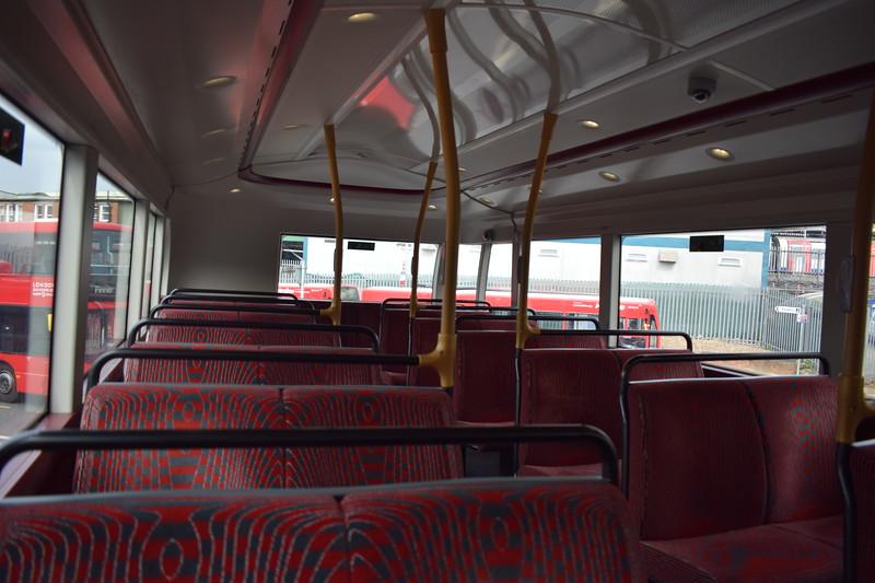 RATP London Sovereign Volvo Wright SRM LJ66EZP VHR45205 interior at Golders Green station on the 183 to Pinner.