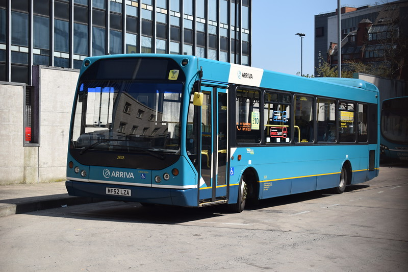 Arriva MAN East Lancs Myllennium MF52LZA 2828 at Manchester Shudehill bus station.