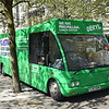 "The Macmillan Cancer Support mobile support bus Optare Solo YJ57EHK ""Beryl"" at Manchester's Piccadilly Gardens."
