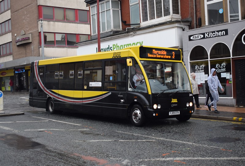 Blackpool Transport Optare Solo YJ09OTK 244 at North station on the 3 to Mereside.