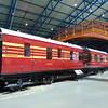 LMS Coronation Scot liveried 3rd Class brake corridor carriage no. 5987 at the NRM.