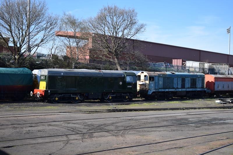 Class 20 locomotives nos. D8188 (Goldeneye star 20188) and 20177 at Kidderminster.