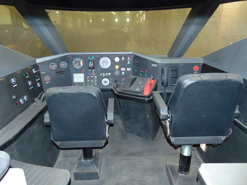 The Class 93 Intercity 250 mock-up cab at Swanwick.