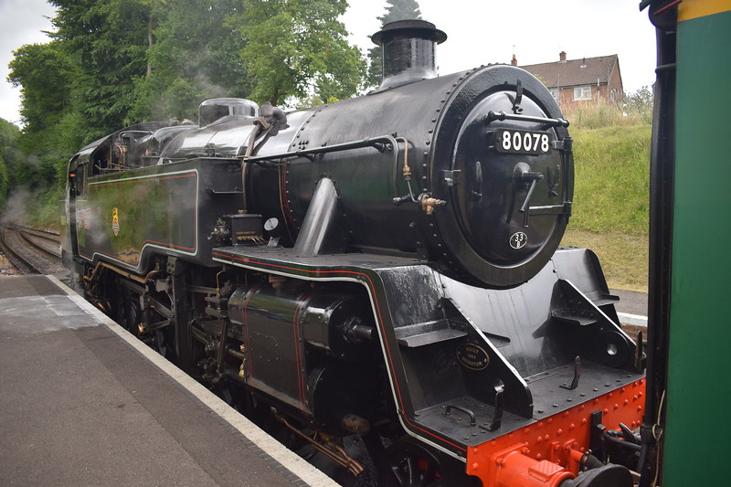 BR Standard Class 4 2-6-4 no. 80078 at Medstead and Four Marks on the Mid Hants Railway.