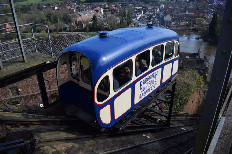 The Bridgnorth Cliff Railway, which claims to be the shortest and steepest in Britain.