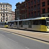 Manchester Metrolink Bombardier M5000 tram no. 3045 passing the Arndale on an Altrincham service.