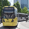 Manchester Metrolink Bombardier M5000 tram no. 3048 at Piccadilly Gardens on test.