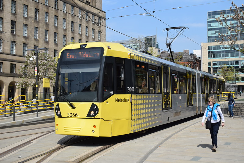 Manchester Metrolink Bombardier M5000 tram no. 3066 at St Peters Square on an East Didsbury service.