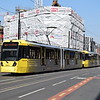 Manchester Metrolink Bombardier M5000 tram no. 3087 leaving Exchange Square on a Shaw and Crompton service.