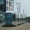 Nottingham Express Transit Alstom Citadis tram no. 224 'Vicky McClure' at the station.