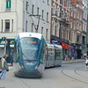 A Nottingham Express Transit Alstom Citadis tram leaving Market Square.