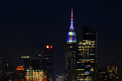 Empire Stgate Building-Hanukkah-Christmas colors