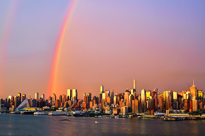 NYC Sundown Rainbow Cityscape