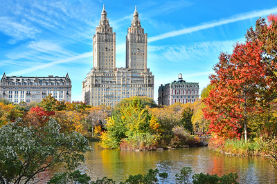 NYC-Central Park Lake Cityscape