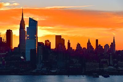 NYC Tangerine Sky Sunrise