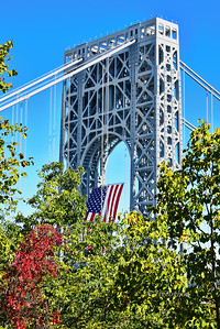 GW Bridge American Flag Autumn View