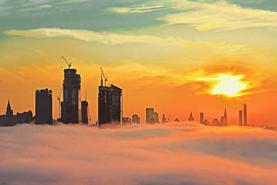 NYC  Sunrise River of Fog