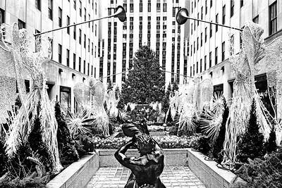 Rockefeller Center Mall at Christmas Monochrome