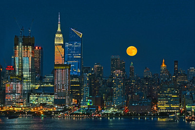 New York Skyline July Full Moon