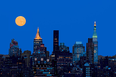 NYC Skyscrapers and Moonrise
