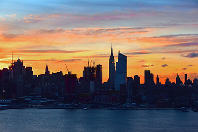 NYC Skyline Cloud-streaked unrise