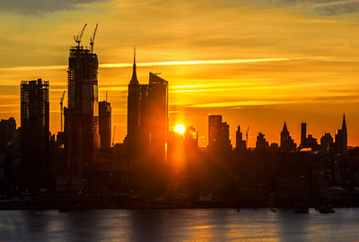 NYC Sunrise Golden Skies
