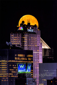NYC Moonrise over Rickefeller Center